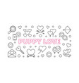 puppy love outline horizontal vector image vector image