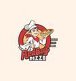 red boy pizza mascot logo vector image vector image