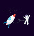 rocket space astronaut floating in cosmos ship vector image
