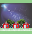 row residential houses with thunderstorm vector image vector image