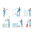 scientists conduct biochemical experiments vector image vector image