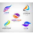 set abstract business logos flow dual vector image vector image