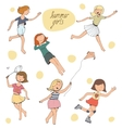 set of cute young girls vector image vector image