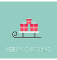 Sleigh with three gift box Blue background Merry vector image vector image