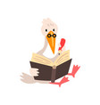smart stork in glasses reading a book cute bird vector image