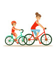 smiling woman and boy riding bikes mom and son vector image vector image