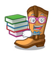 student with book leather cowboy boots shape vector image vector image