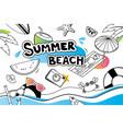 summer doodle symbol and objects icon design for vector image vector image