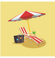 summer red beach umbrella chair baggage coconut ye vector image
