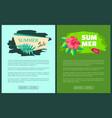 summer sale emblems exotic flower branch advert vector image