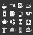 tea and coffee icons set grey vector image