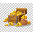treasure of gold coins on transparent background vector image vector image