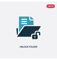 two color unlock folder icon from user interface vector image vector image
