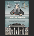 vintage colored judicial system poster vector image vector image
