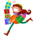 woman with presents vector image vector image