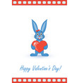 postcard on valentines day with a rabbit vector image