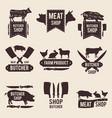 design of monochrome labels set for butcher shop vector image