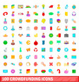 100 crowdfunding icons set cartoon style vector image
