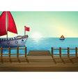 A morning view of the port with ship vector image vector image