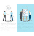 agreement and start up set of posters with text vector image vector image