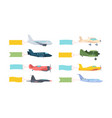 airplanes with banner set modern retro aircraft vector image vector image