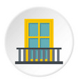 balcony with a yellow window icon circle vector image vector image
