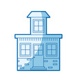 blue shading silhouette house with small attic vector image