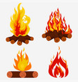 bonfire set - camping fire collection burning vector image