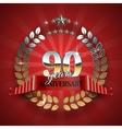 celebration golden frame for 90th anniversary vector image