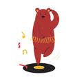 cheerful a ballerina bear dancing vector image
