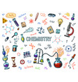 chemistry icons set chalkboard with elements vector image
