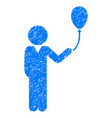 child with balloon grunge icon vector image vector image