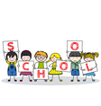 children with school posters vector image vector image