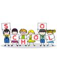children with school posters