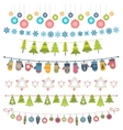 Christmas flags bunting and garlands vector image vector image