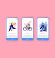city park sport lifestyle mobile app screen set vector image
