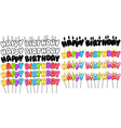 Colorful Happy Birthday Text Candles On Sticks Set vector image vector image