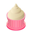 cream cupcake icon isometric style vector image
