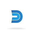 D letter logo template Blue flat style ribbons