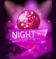 design poster template for night party celebration vector image