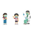 doctors and children character wear face masks vector image