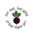 eat well feel good beet emblem template with vector image