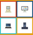 flat icon computer set of computing display vector image