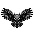 flying owl with spread wings monochrome vector image