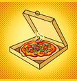 fresh pizza in box pop art vector image