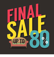 Furniture Final Sale Up to 80 Percent vector image vector image