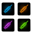 glowing neon syringe icon isolated on white vector image vector image
