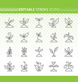 grass simple black line icons set vector image vector image