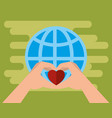 hands with hearts charity donation vector image