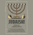 hanukkah menorah israel holiday vector image vector image
